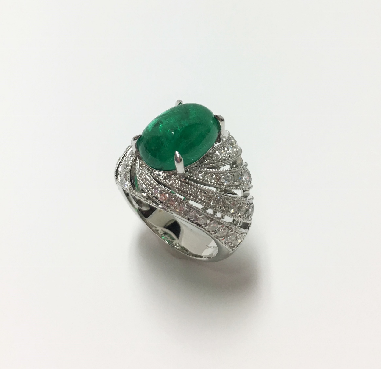 Over 4.5 Carats Cabochon Emerald Diamond Ring