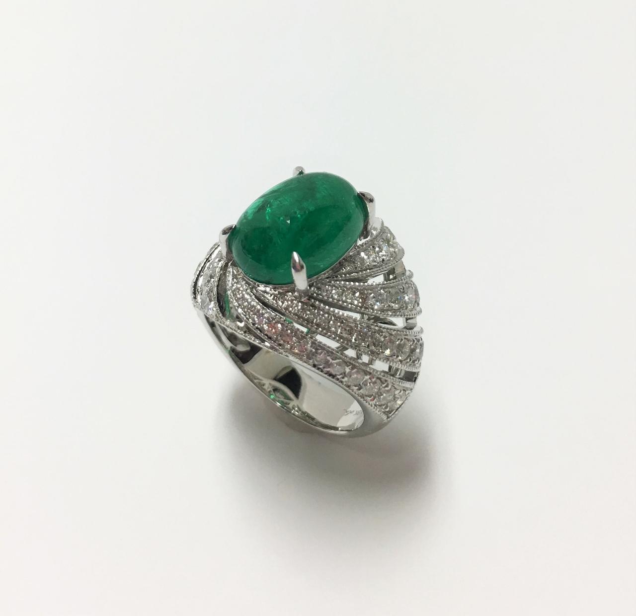 Over 4.5 Carats Cabochon Emerald Diamond Ring