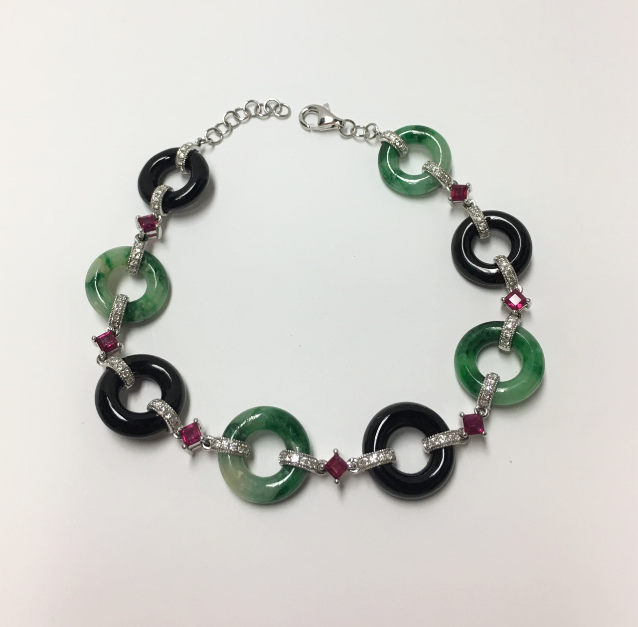 Natural Green Jade & Onyx White Gold Bracelet