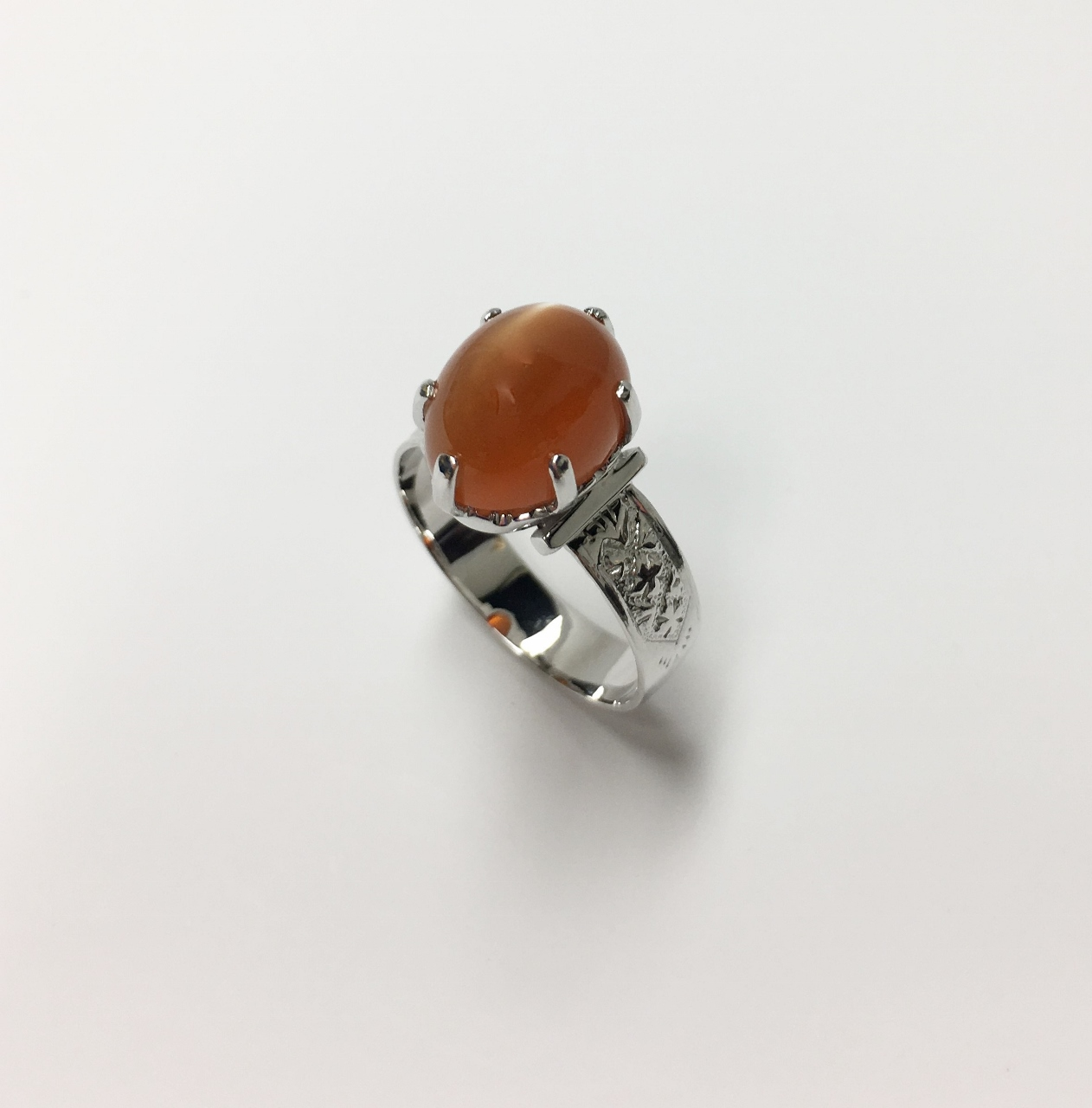 Simple Orange Chalcedony White Gold Ring