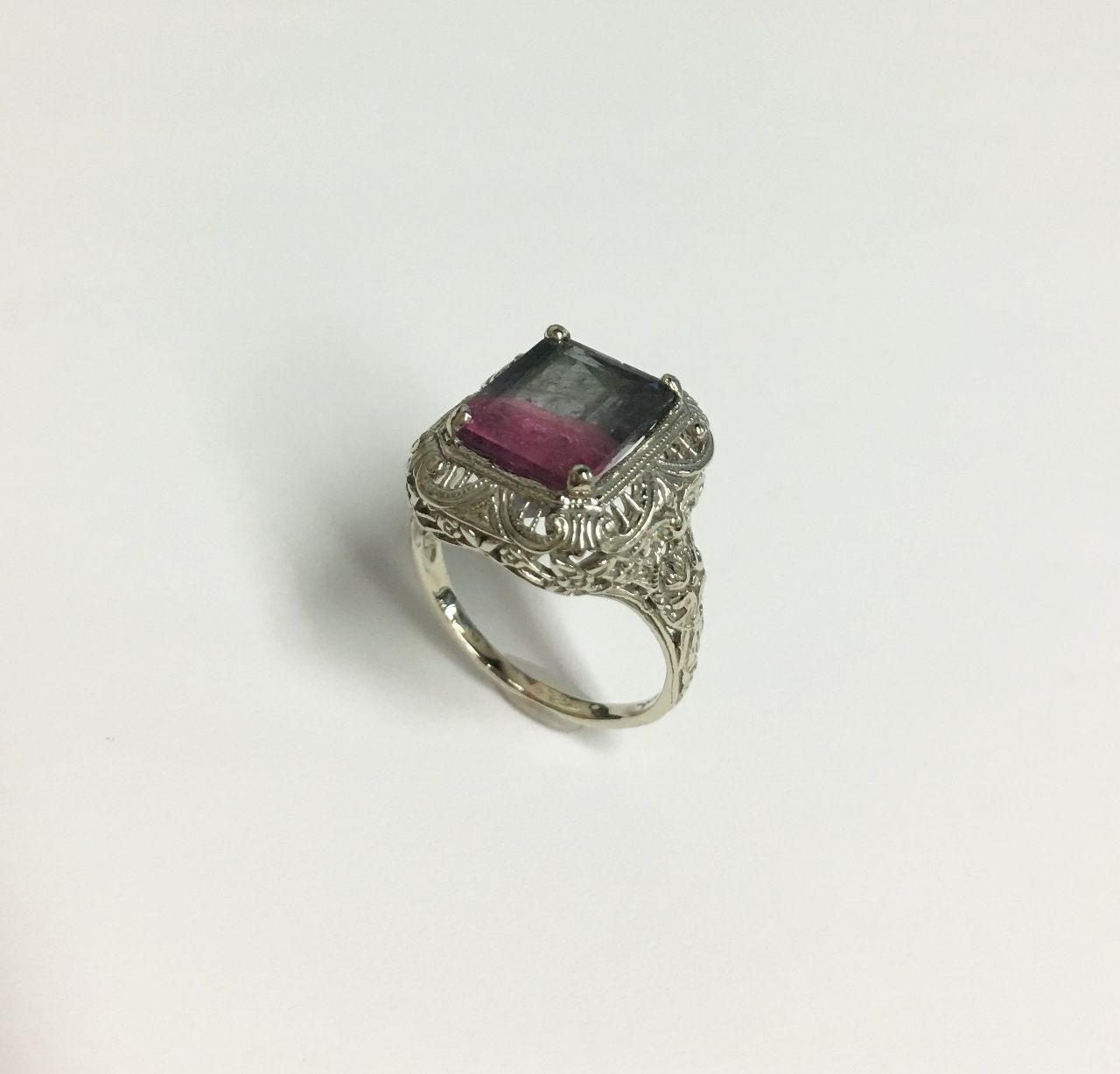 Over 5 Carats Watermelon Tourmaline White Gold Ring