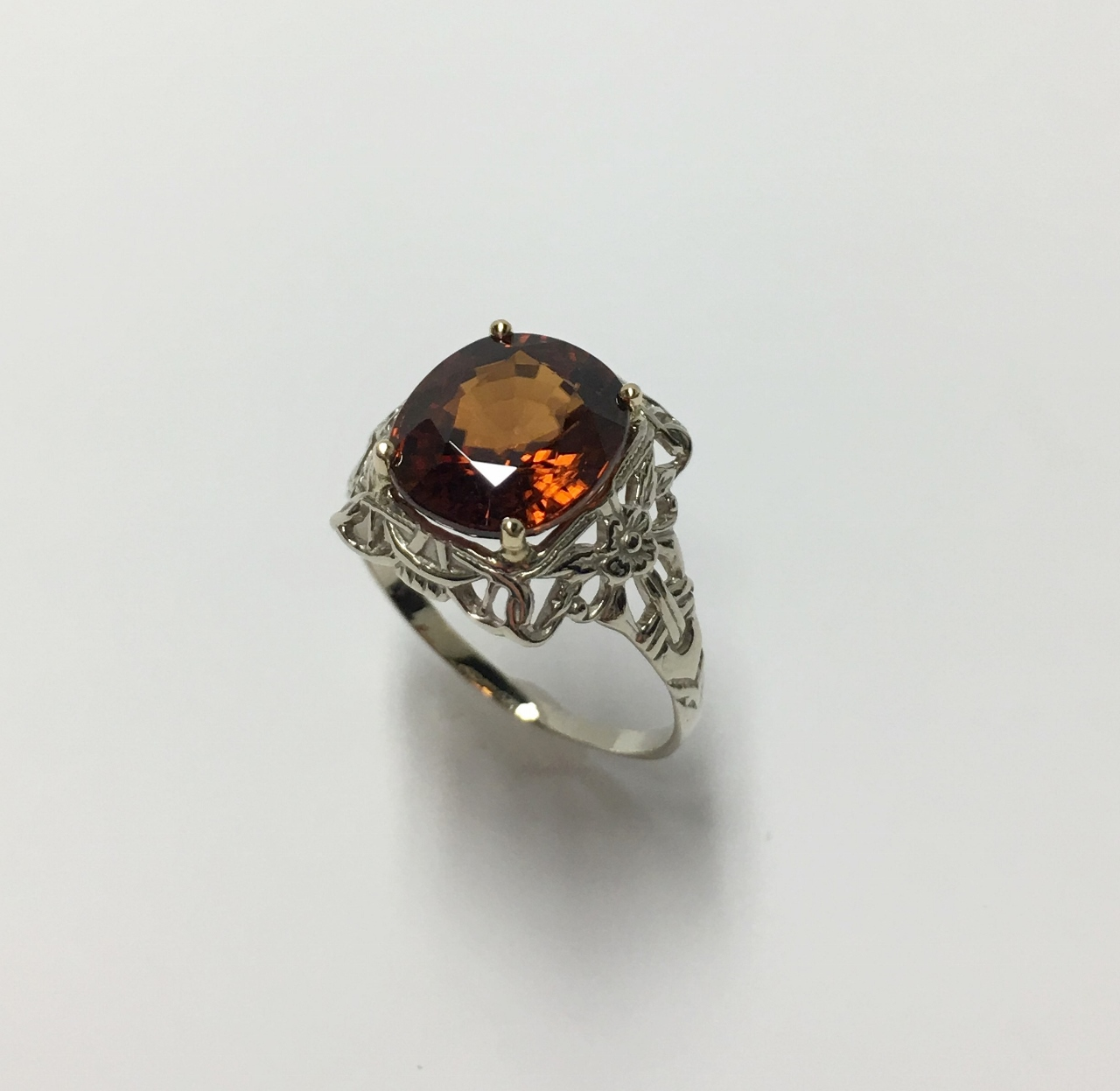 Over 5 Carats Brown Zircon White Gold Ring