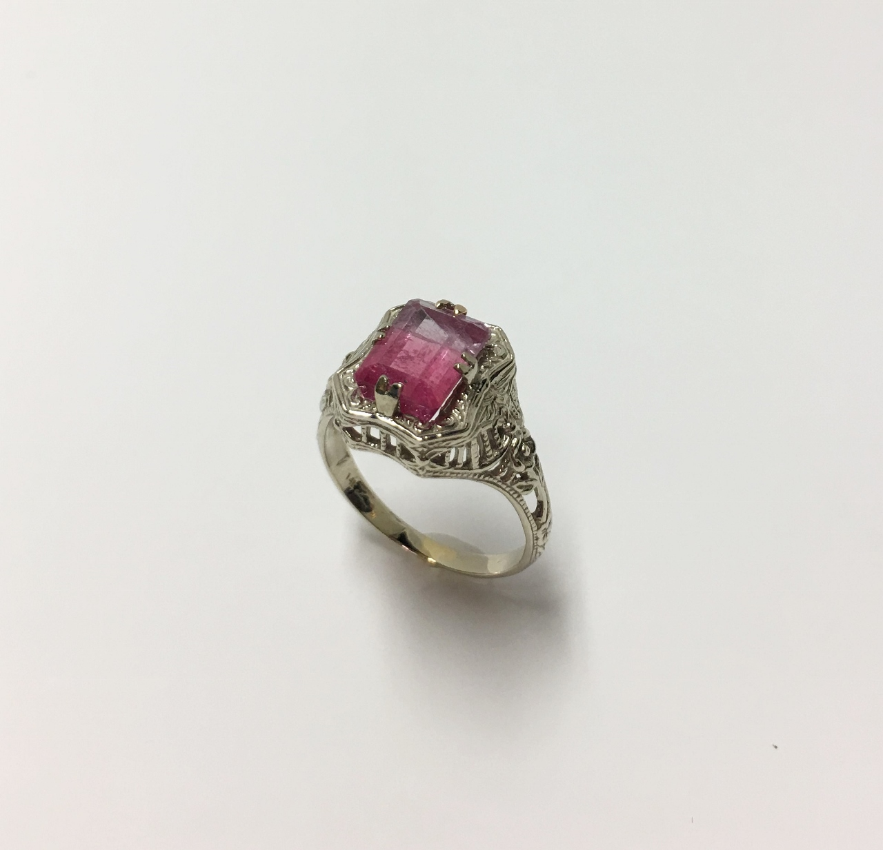 Over 2.5 Carats Watermelon Tourmaline White Gold Ring