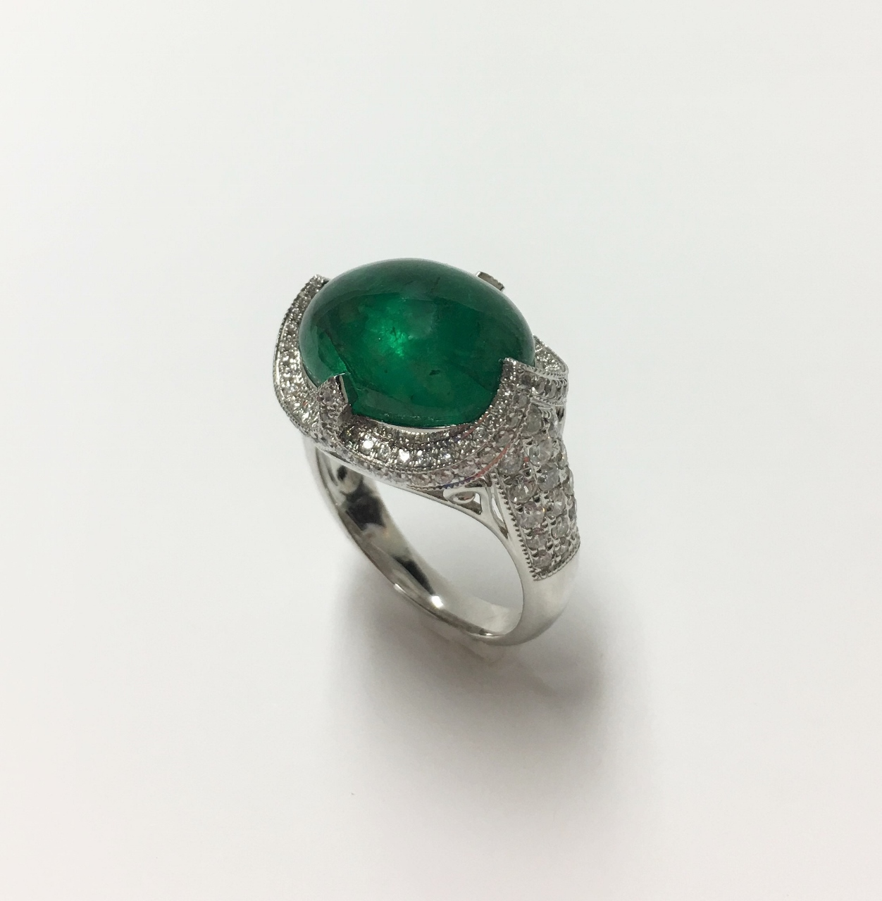 Over 9 Carats Cabochon Emerald Diamond Ring