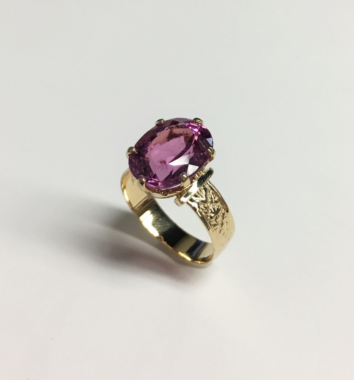 Almost 5 Carats Pink Tourmaline Yellow Gold Ring