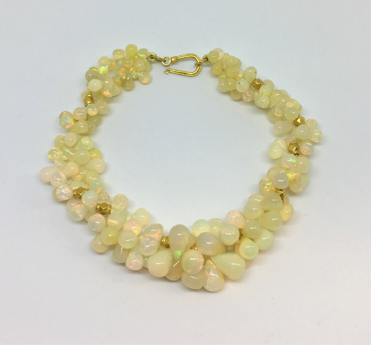 18K Yellow Gold Double Strand Opal Bracelet