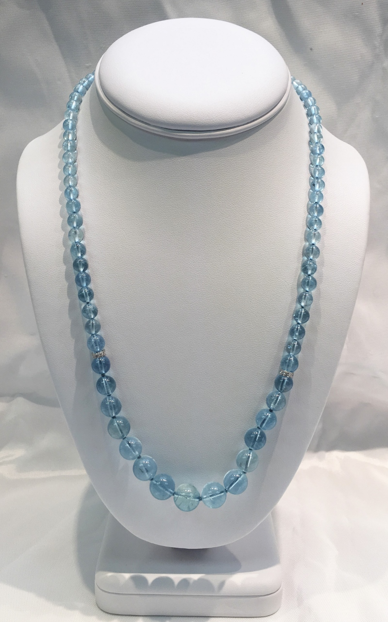 21 Inches Aquamarine Beads Necklace