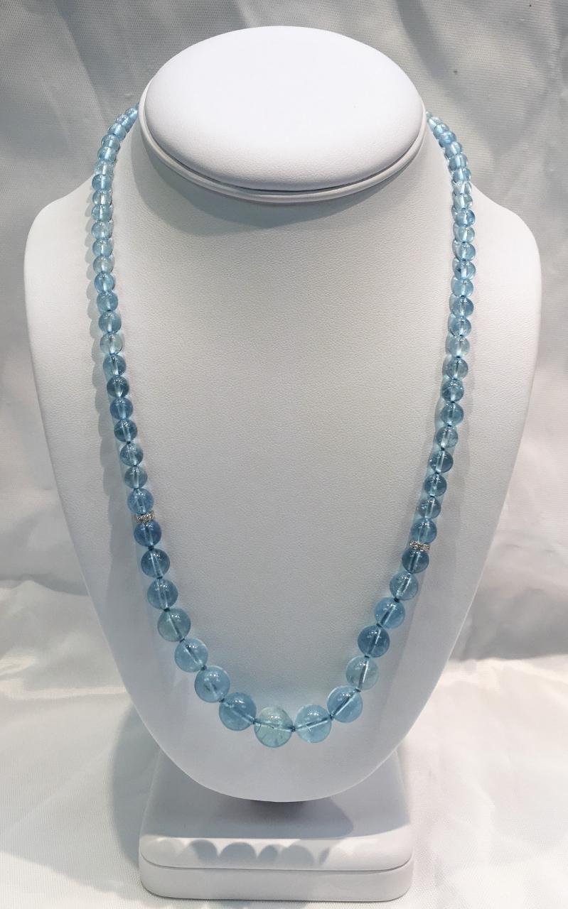 21 Inches Aquamarine Beads Necklace