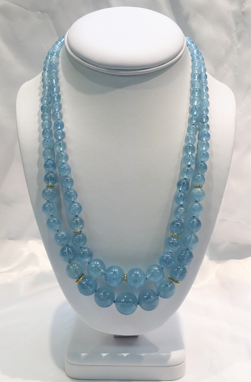 Double Strand Aquamarine Beads Necklace