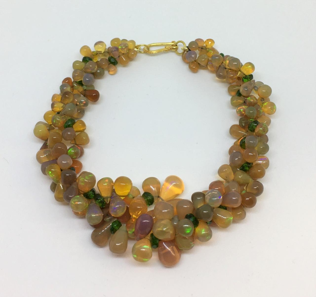 Double Strand Opal & Tsavorite Bracelet