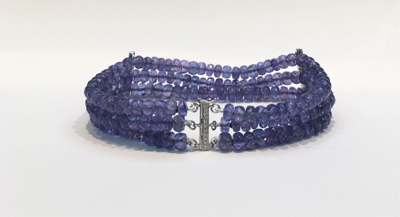 3-Strand Tanzanite Beads Bracelet