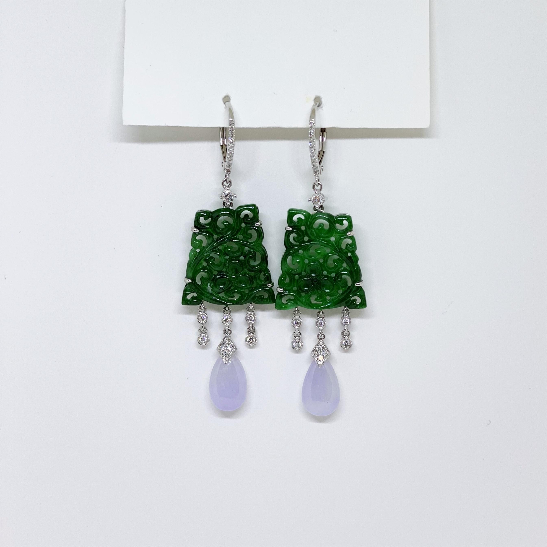 Natural Green Jade & Lavender Jade Dangling Earrings