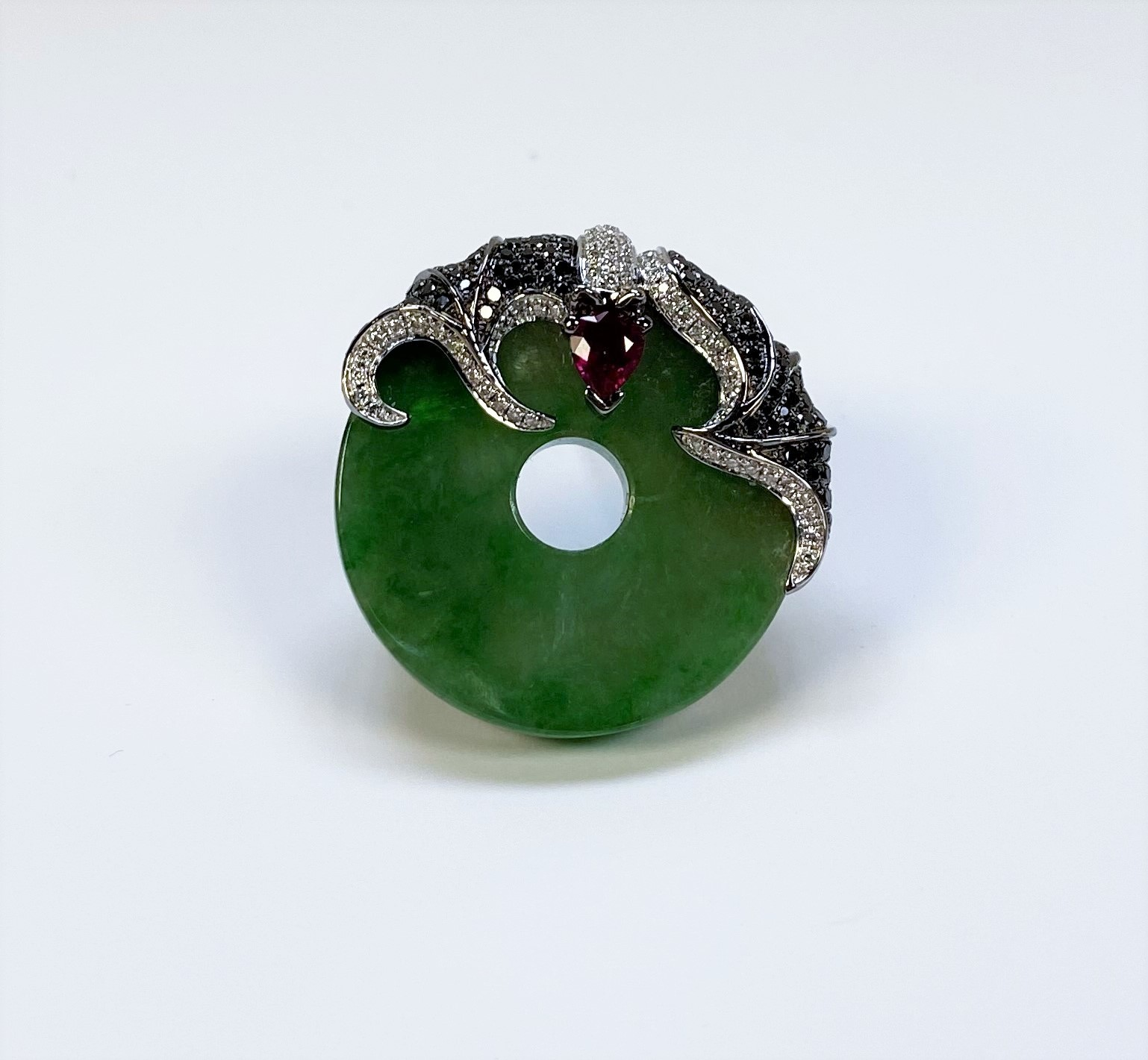 Bat Design Jade Diamond Pendant Brooch