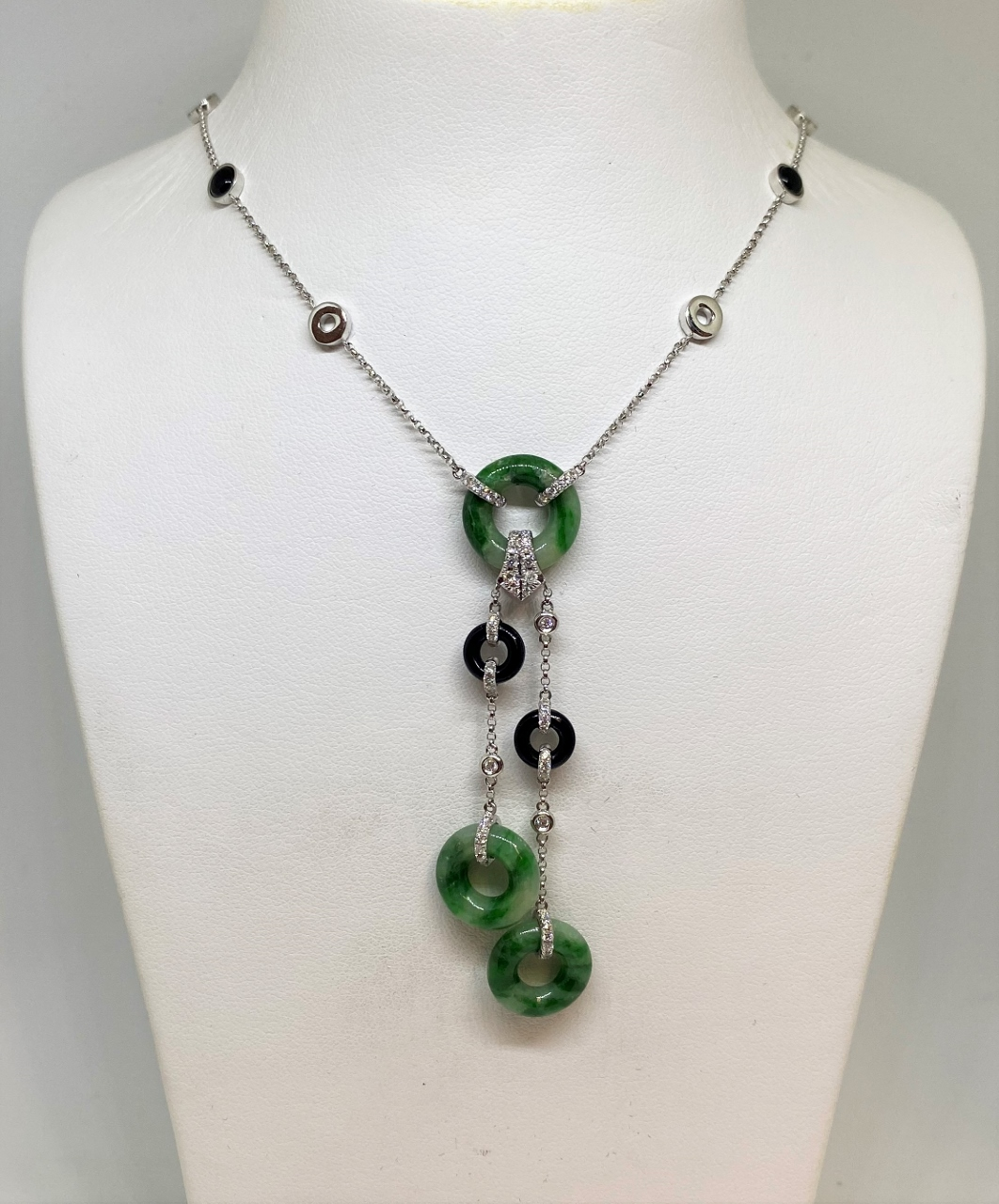 White Gold Natural Green Jade, Onyx, & Diamond Necklace