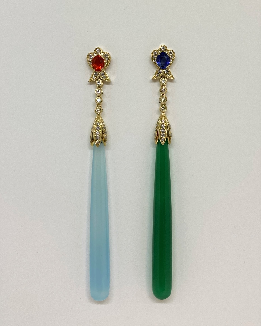 Yellow Gold Long Dangling Agate, Sapphires, Diamond Earrings