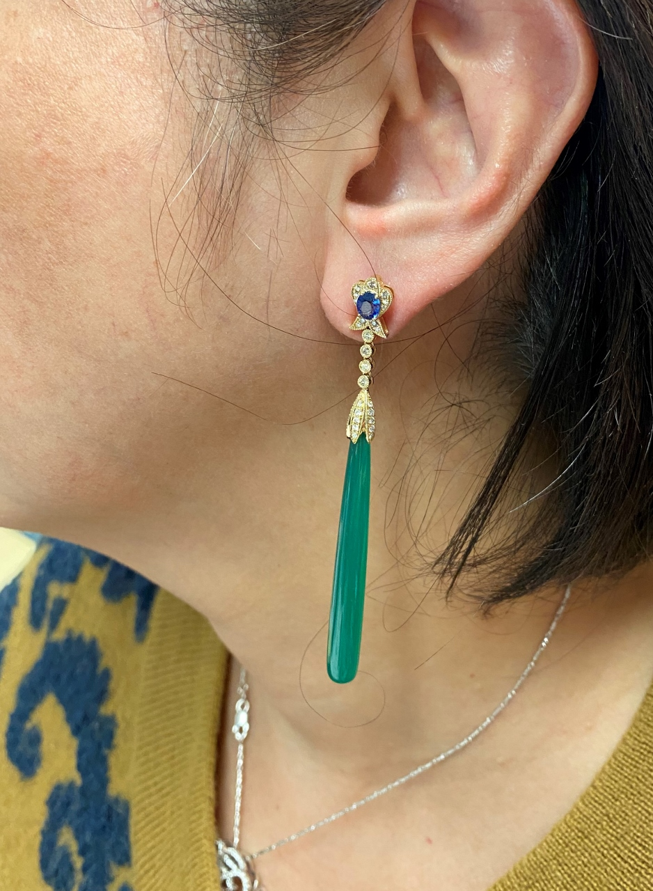 Yellow Gold Long Dangling Agate, Sapphires, Diamond Earrings