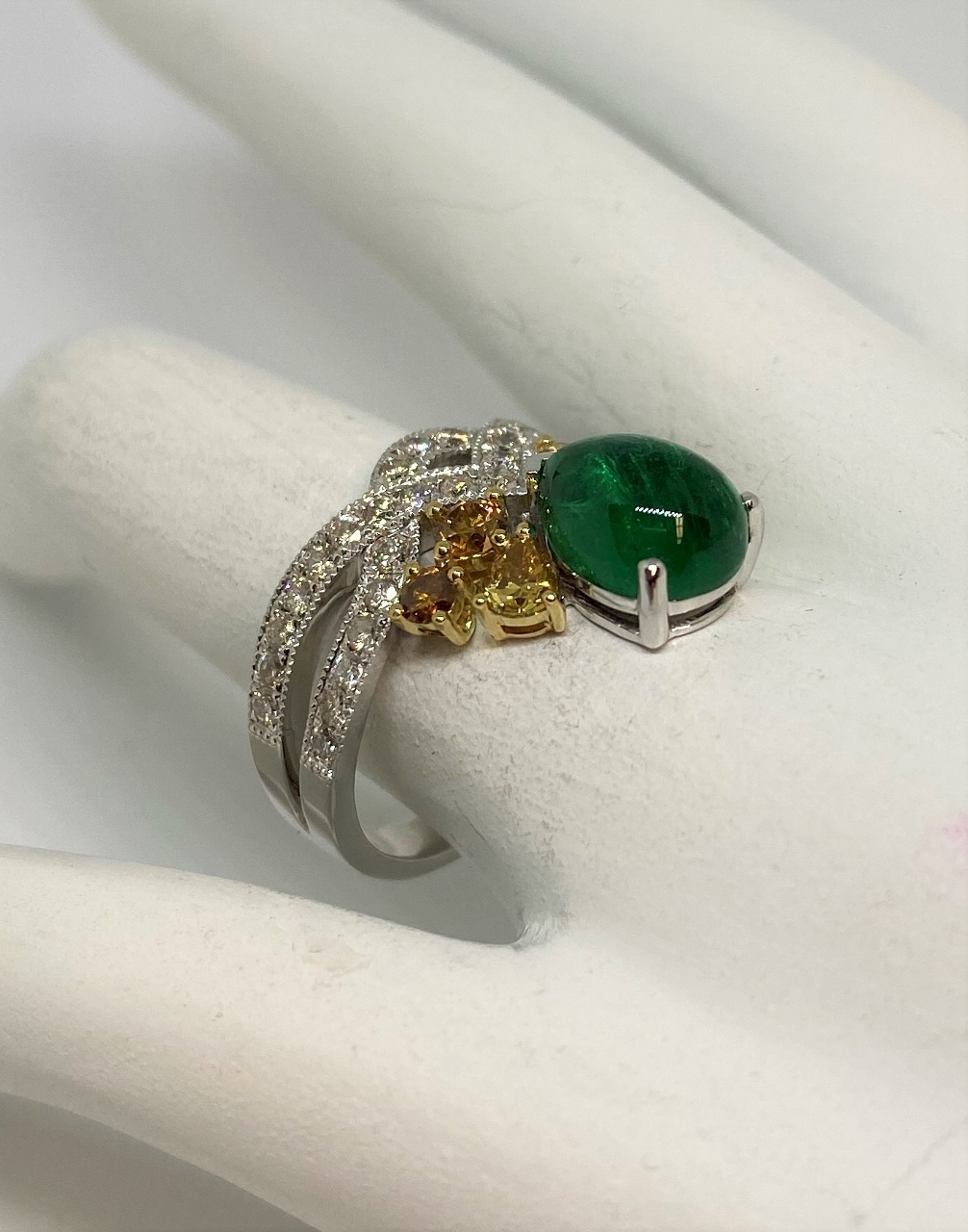 Over 2 Carats Cabochon Emerald & Diamond Ring