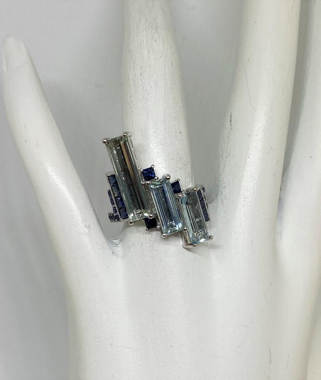 5 Carats Aquamarine & Sapphire Ring