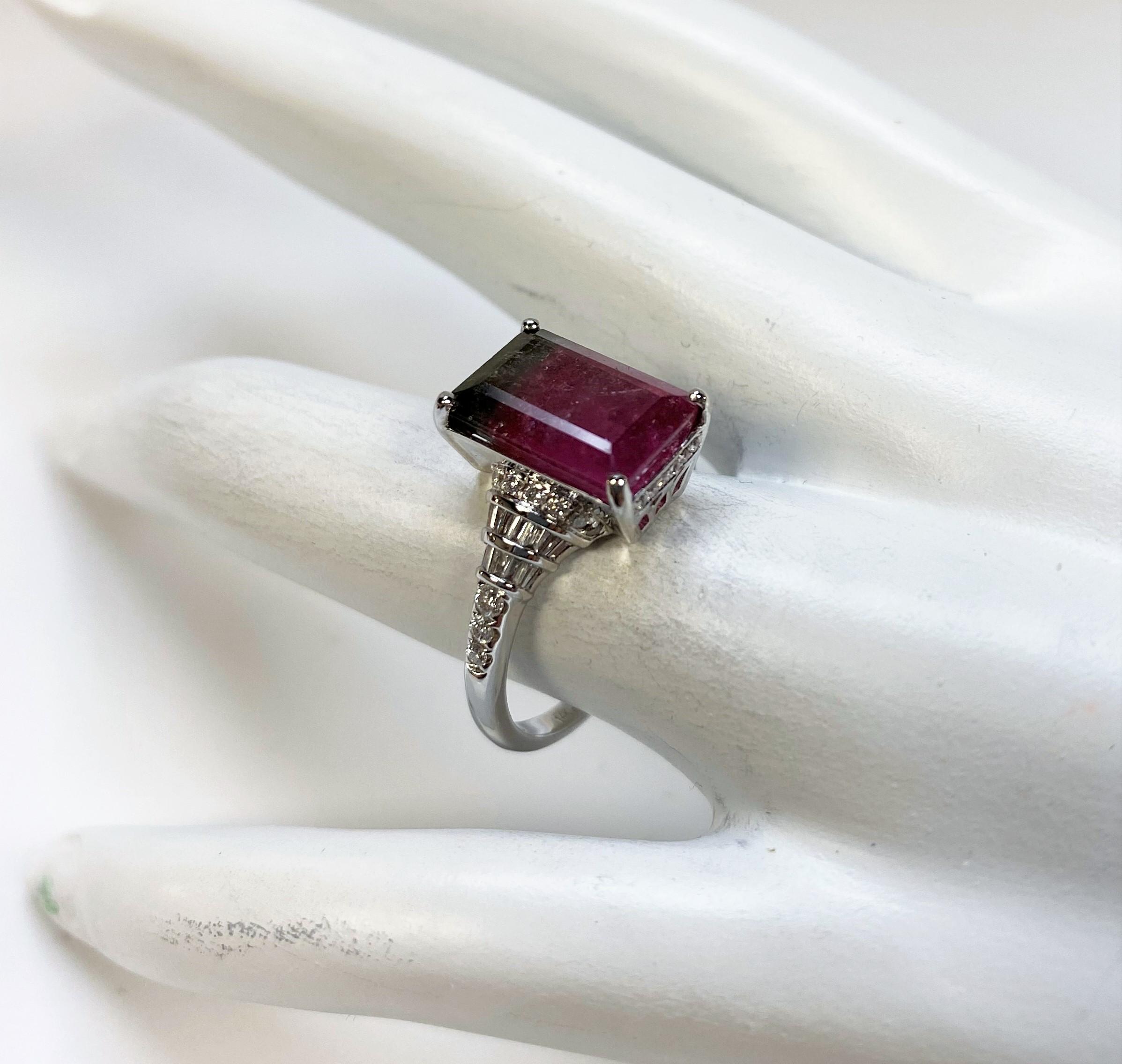 Over 4 Carats Watermelon Tourmaline Diamond Ring
