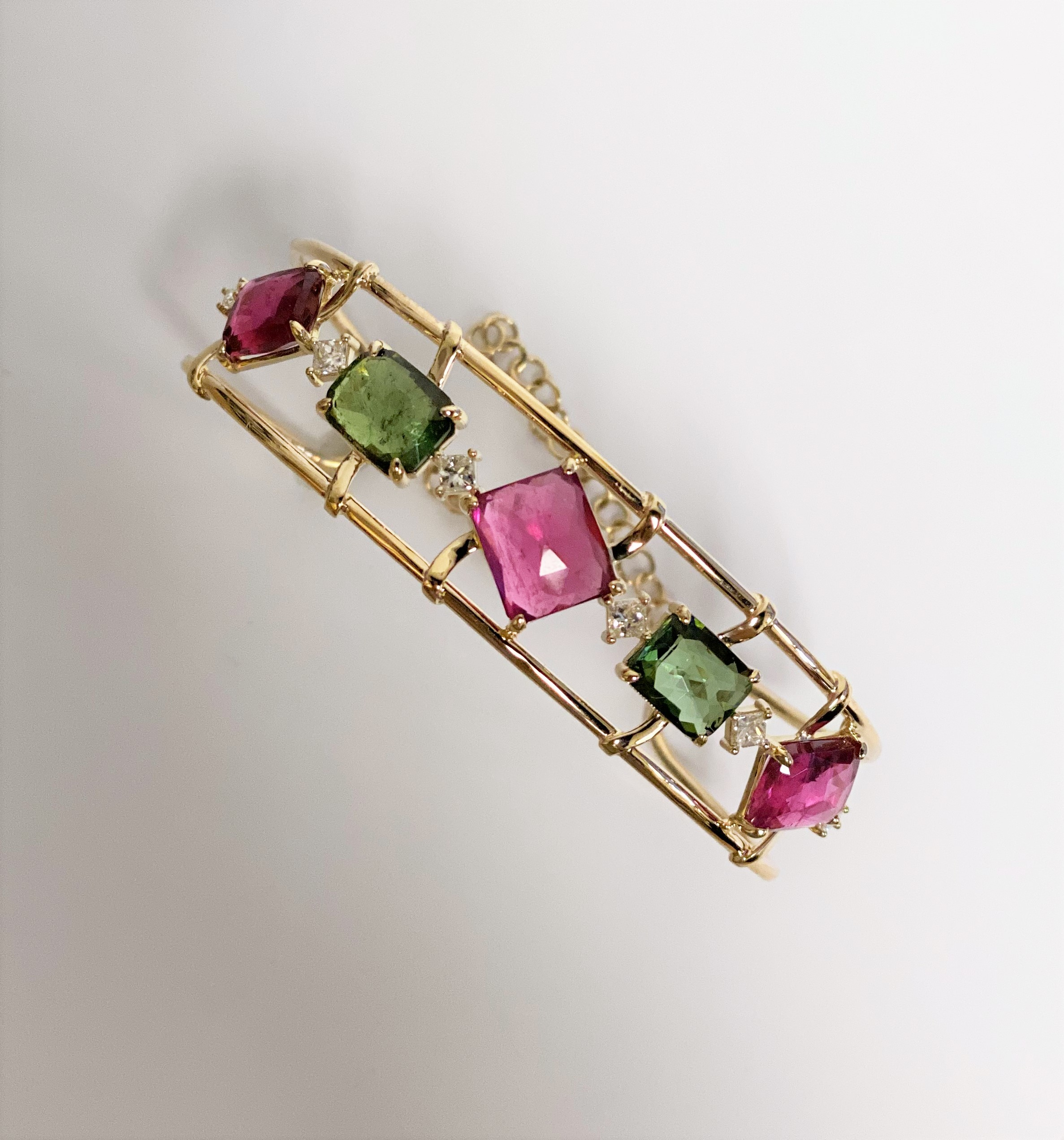 Almost 12 Carats Total Weight Multi-Color Tourmaline Cuff