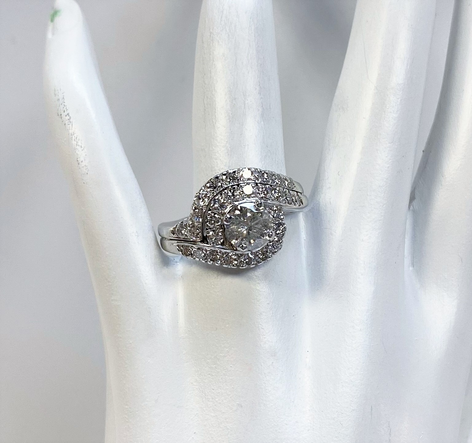 Over 1.50 Carats Total Weight Diamond White Gold Ring