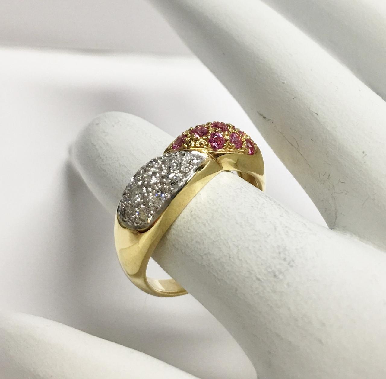 18K Yellow Gold Pink Sapphire And Diamond Band