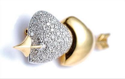 Platinum & 18K Yellow Gold Diamond Brooch