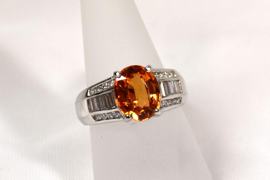 Classic Spessartine and Diamond Ring