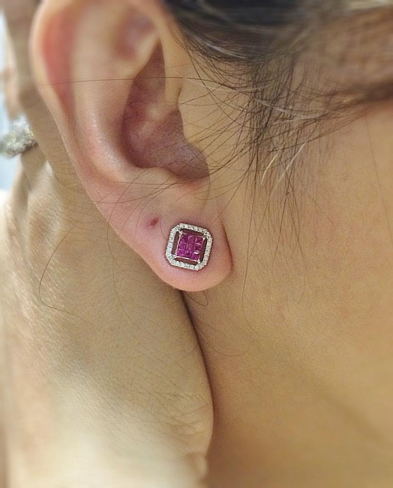 White Gold Ruby & Diamond Earrings
