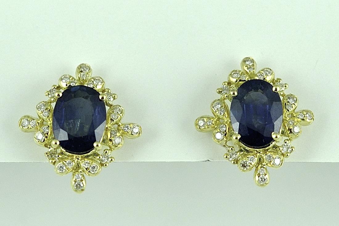 2 Carats Sapphire and Diamond Earrings