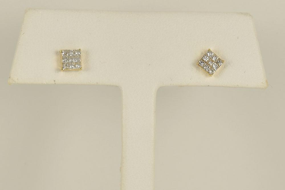 1/3 Carats TW Diamond Yellow Gold Earrings