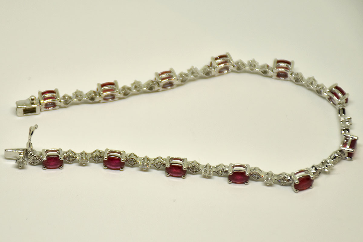 Over 4 Carats Natural Ruby Diamond Bracelet