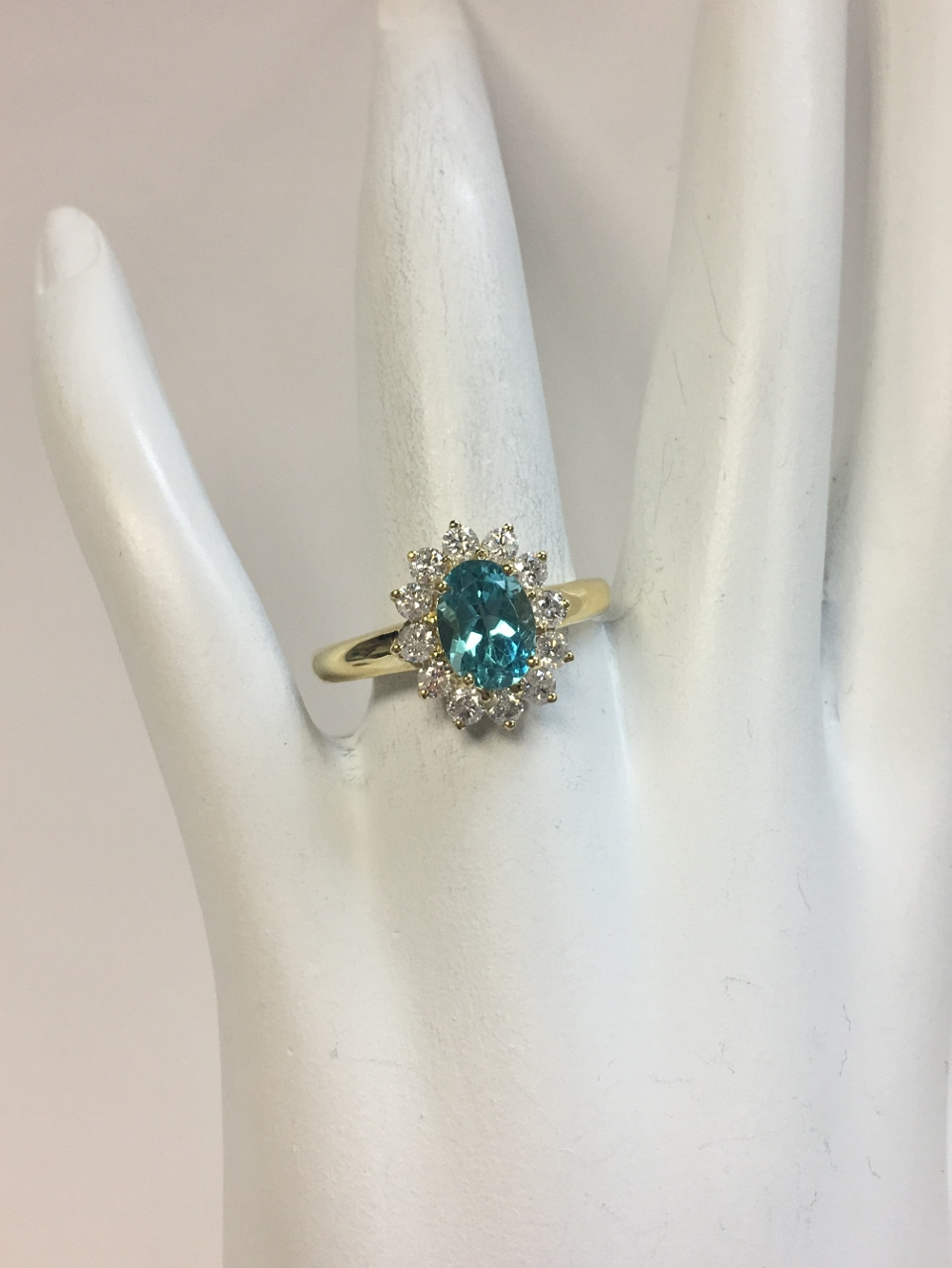 1 Carat Apatite Diamond Yellow Gold Ring