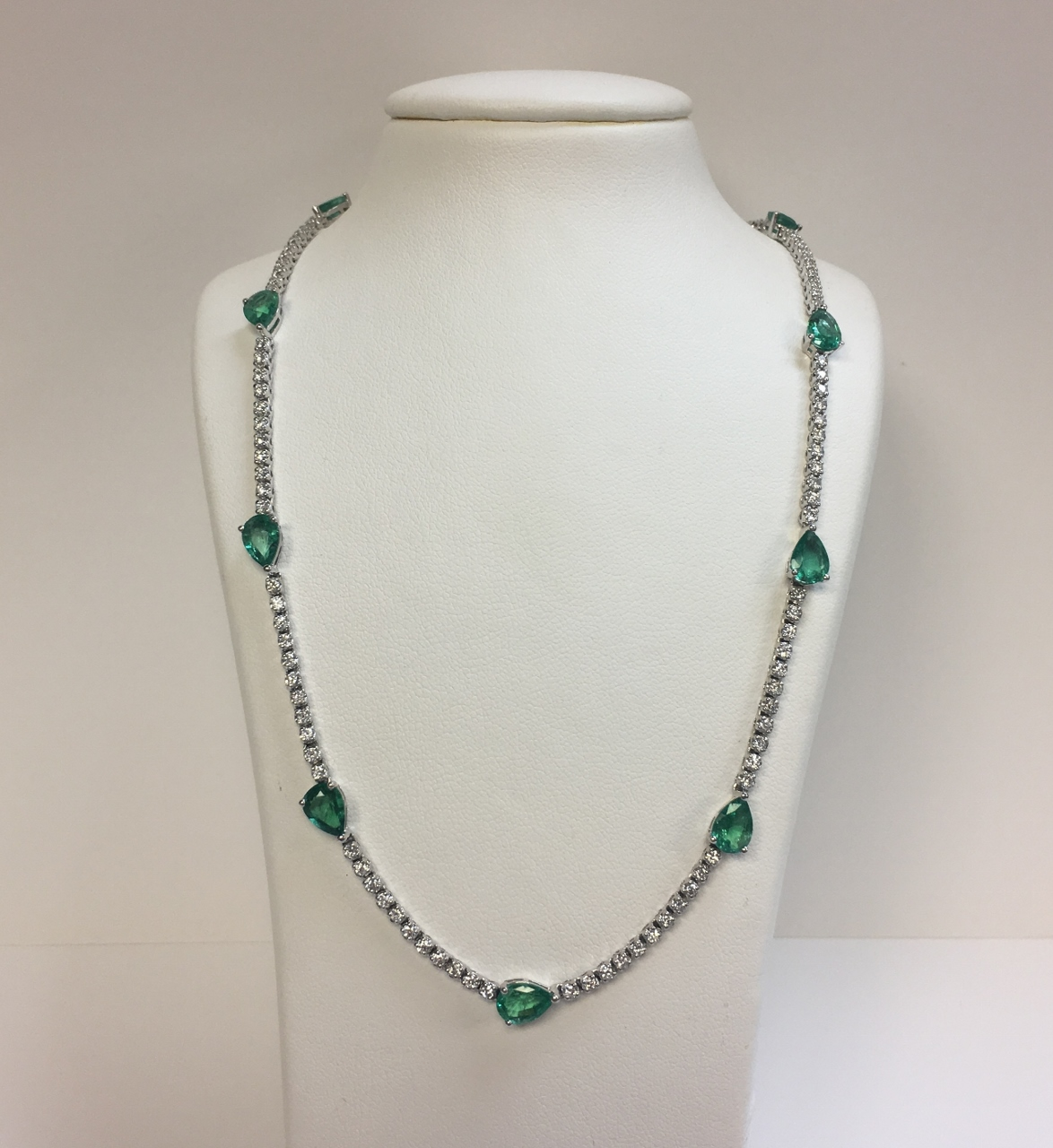 Over 6 Carats Emerald Station Necklace
