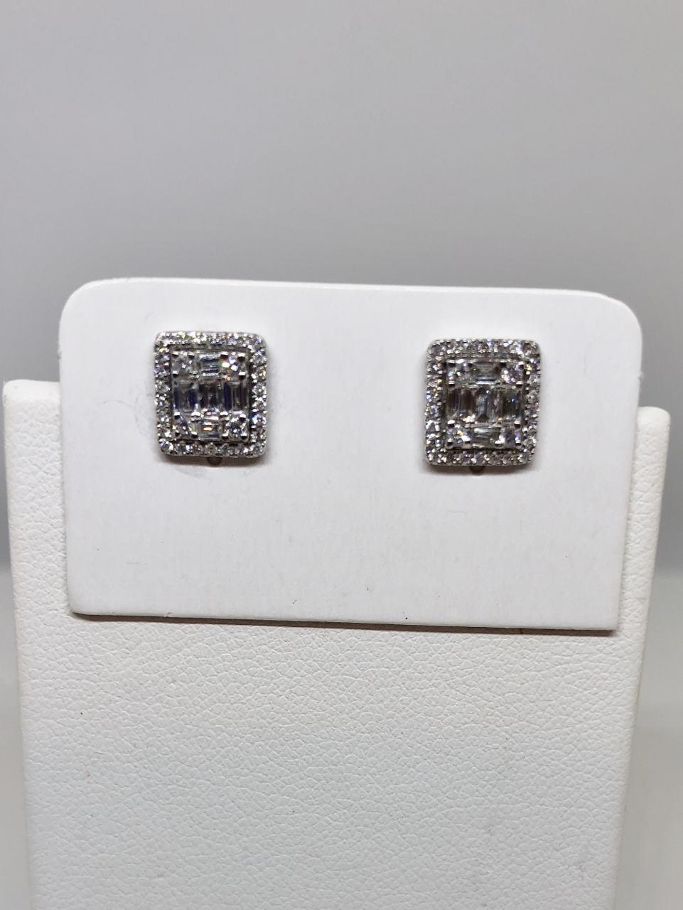 Half Carats Square Shape Diamond Earrings