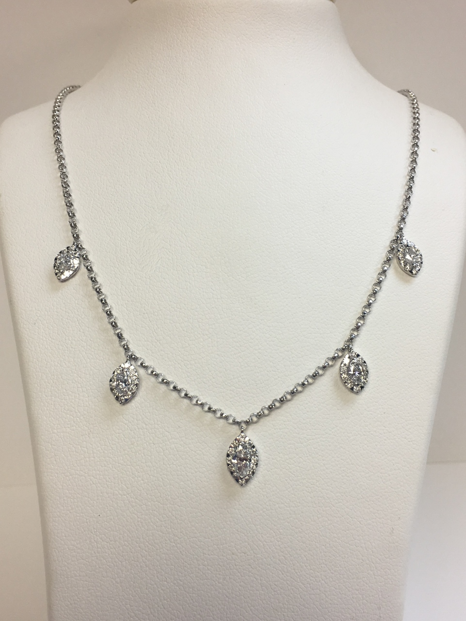 1 Carat Total Weight Station Diamond Necklace