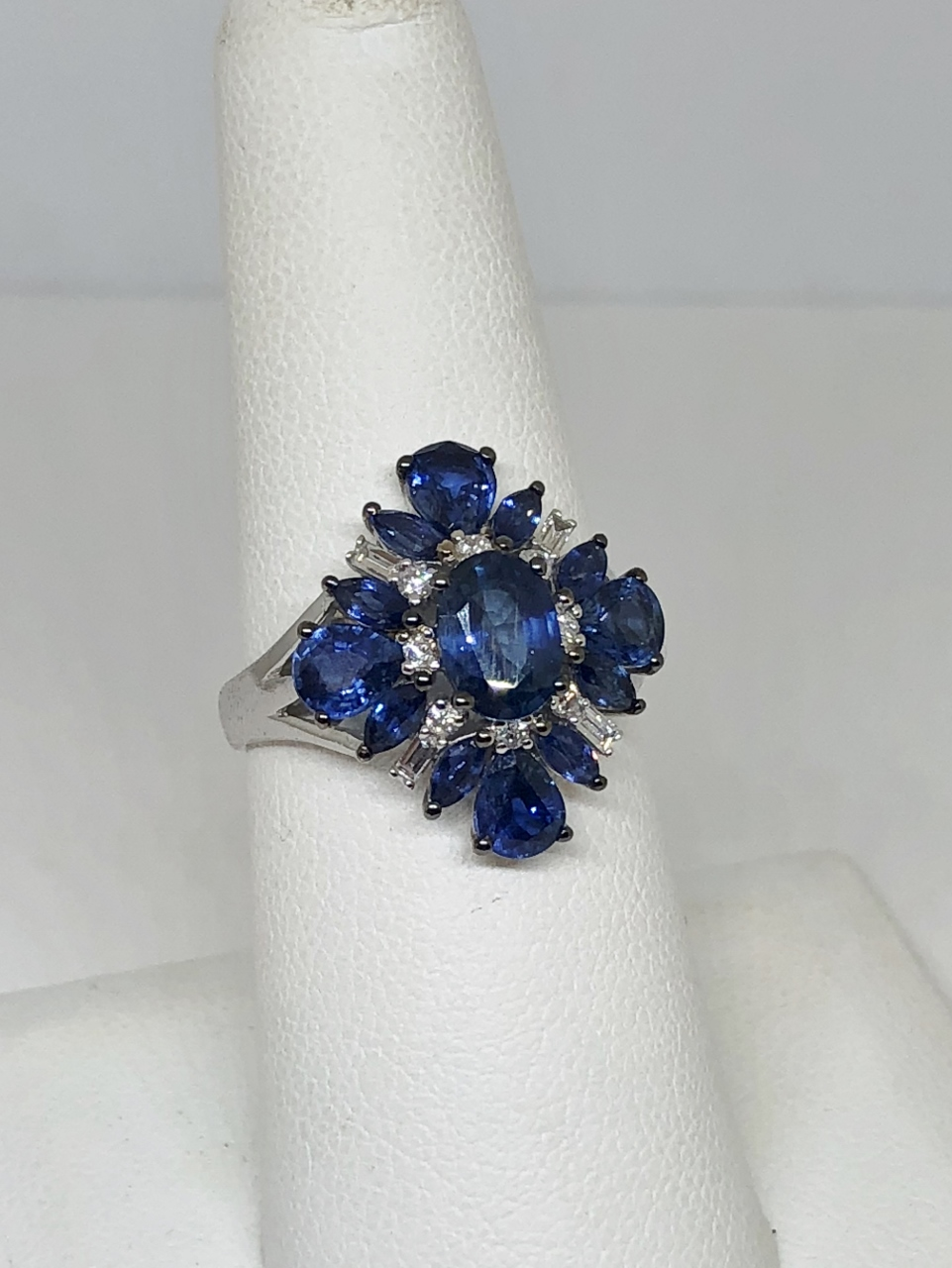 Over 3 Carats Sapphire White Gold Ring
