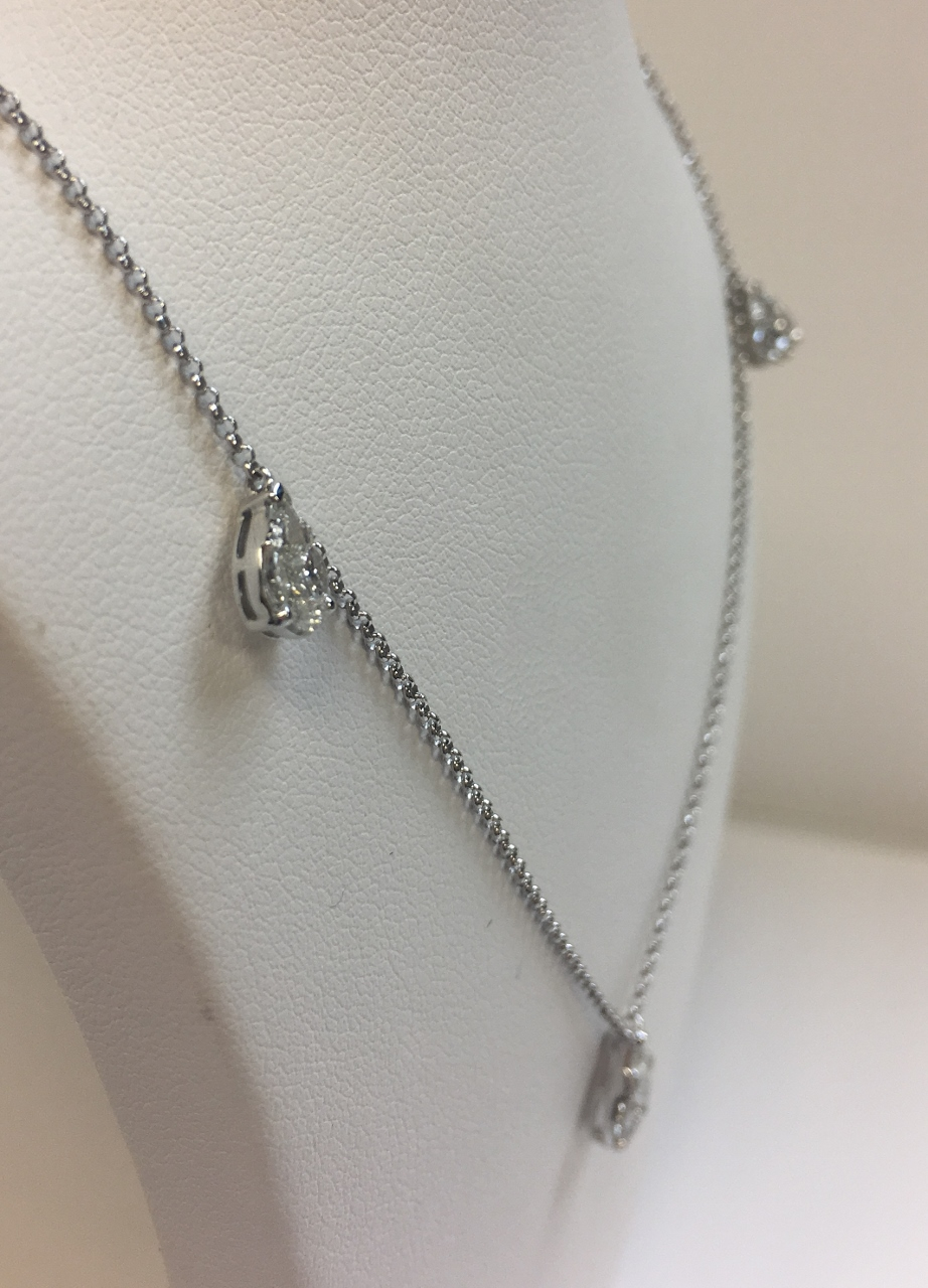 Almost 1 Carat Total Weight Diamond Station Necklace