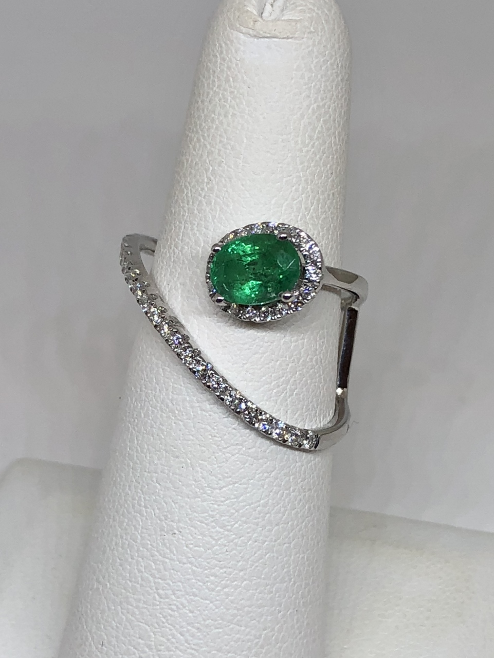 Open Style Emerald Diamond Ring