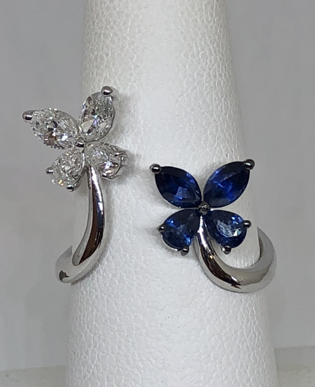 Open Style Butterfly White Gold Ring