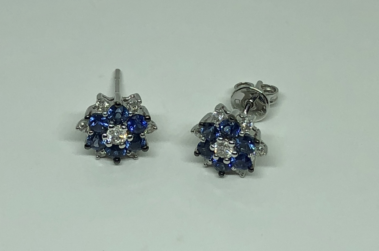 Flora Design Sapphire Diamond Earrings