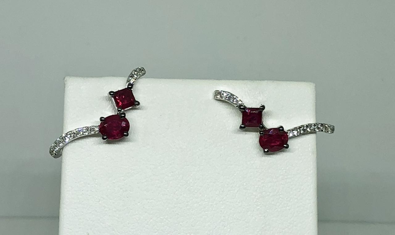 Over 1.25 Carats Ruby & Diamond Earrings