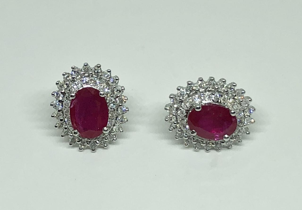 1-3/4 Carats Ruby Diamond Earrings