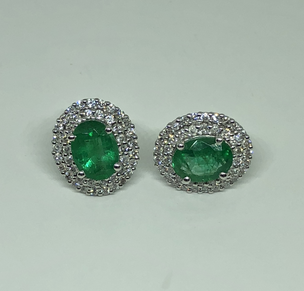 2 Carats Total Weight Emerald Diamond Earrings