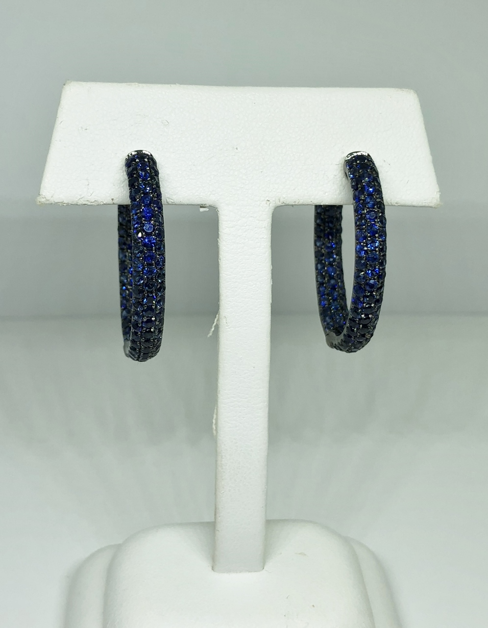 6.5 Carats Total Weight Sapphire Hoop Earrings