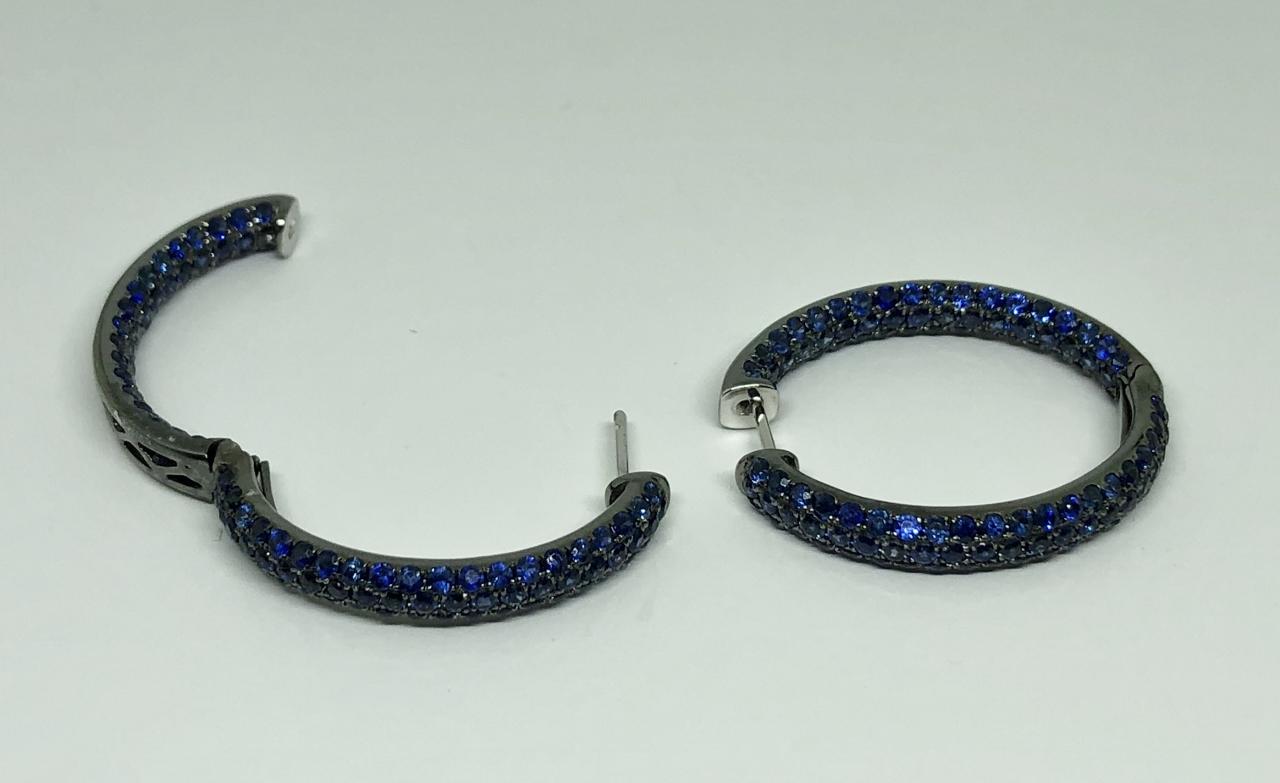 6.5 Carats Total Weight Sapphire Hoop Earrings