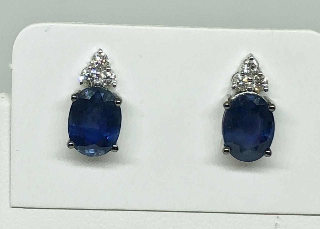 Over 3 Carats Sapphire Diamond Earrings
