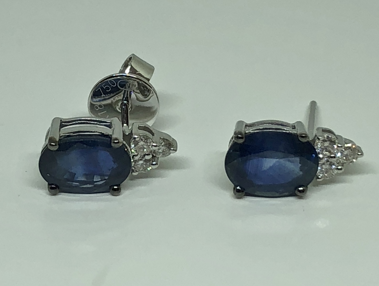 Over 3 Carats Sapphire Diamond Earrings