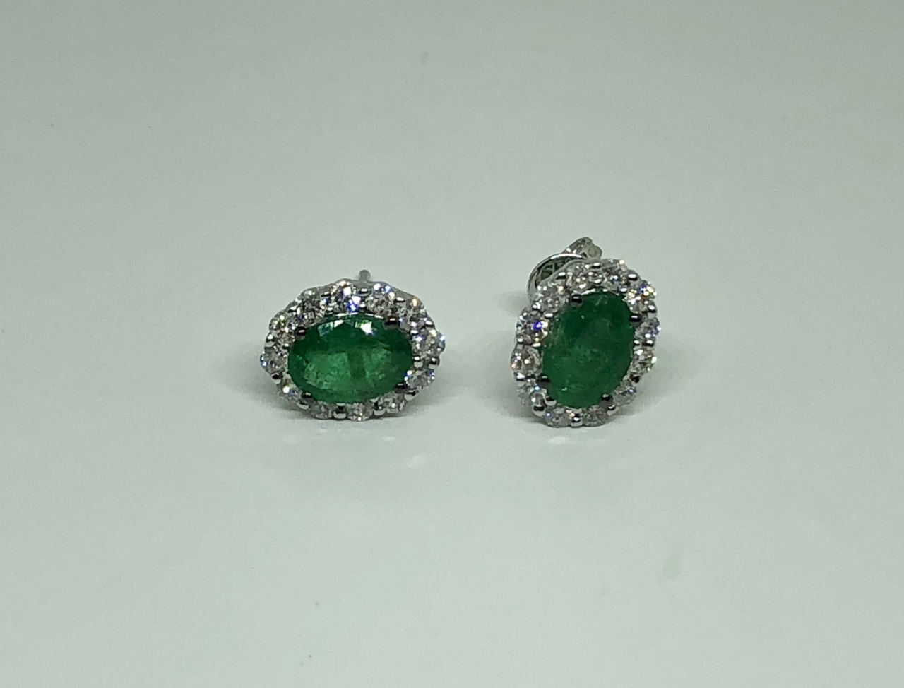 Over 1 Carat Emerald Diamond Earrings