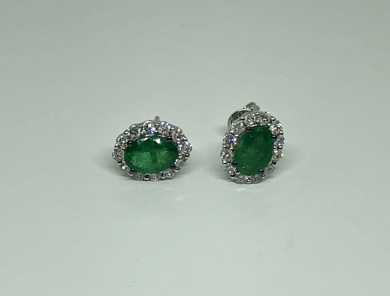 Over 1 Carat Emerald Diamond Earrings